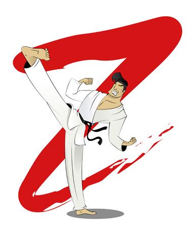 kicks: Vector cartoon karate fighter kicks. Martial arts training concept illustration