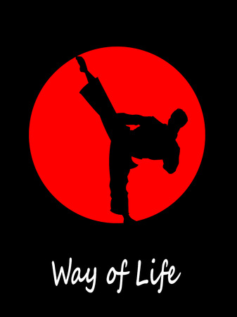 self  defense: Silhouette of karate fighter doing high kick. Vector illustration Illustration