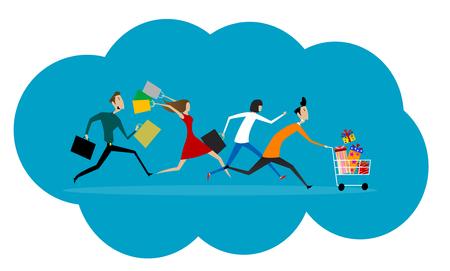 Frauen und Männer Hast laufen bis zum Verkauf. Wohnung kommerzielles Konzept der Förderung und Rabatts. Vektor Standard-Bild - 67664157