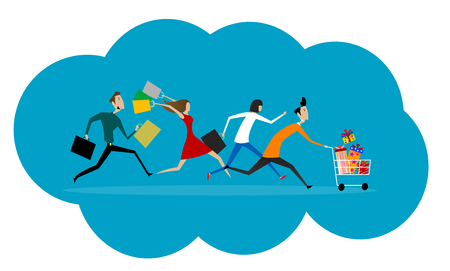 Las mujeres y los hombres corren prisa a la venta. comercial concepto plana de promoción y descuento. Vector Ilustración de vector