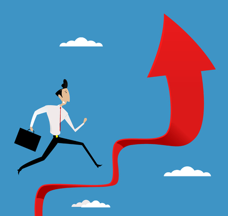 Running businessman up the stair. Concept of success and career. Vector