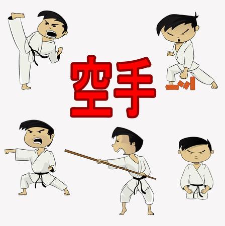 kicks: Cute vector karate boy sticker set in different actions. He kicks, meditates, break bricks . Illustration for martial art poster. Illustration