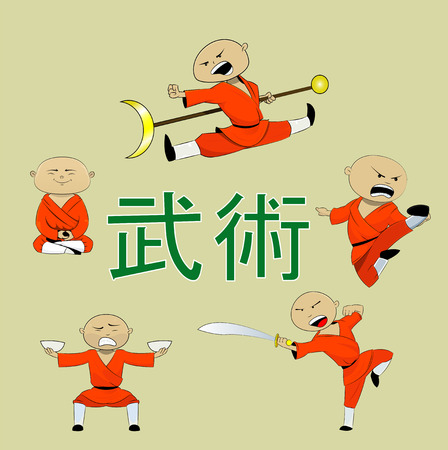 Cute shaolin monk character set in different poses and actions. Vector illustration. Hieroglyph meens martial art
