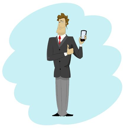 Young cartoon businessman with mobile phone. Vector character