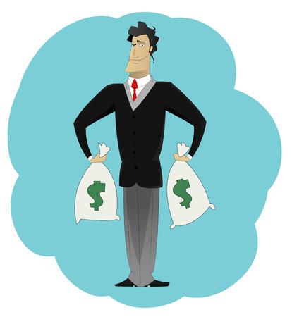 Businessman holding money bags. Win concept, wealth, profits. Vector