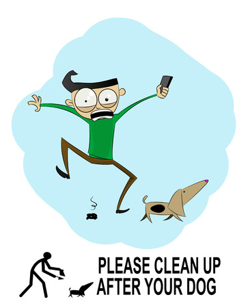 Clean up after your dog sign made in cartoon style. Vector Illustration