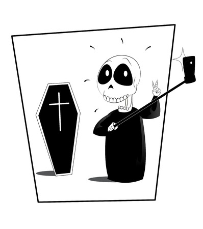 craze: Fun ripper making selfie. Halloween vector illustration. Sarcasm on the selfie craze