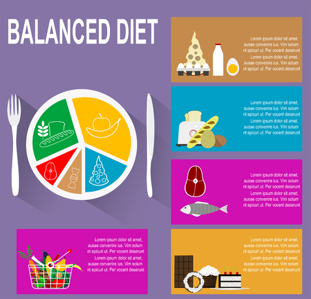 Infographic chart of healthy plate nutrition proportions. Shows healthy and balanced diet for successful and healthy life.  flat design