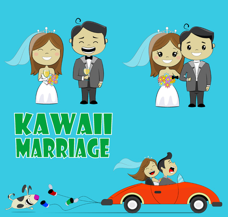 Bruiloft paar illustratie. Leuke kawaii man en vrouw samen. Cartoon design Vector Illustratie