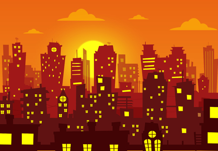 Evening cityscape vector illustration. Sunset landscape vector concept illustration Illustration