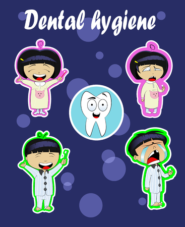 rinsing: Children in pajamas brushing teeth before sleep. Oral hygiene. Cartoon character of boy and girl with toothbrush in his handa and with tooth in their hands. Easy to edit. Vector Illustration
