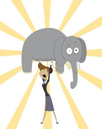 Cartoon women raises elephant . Concept of successful businesswoman. Vector Vettoriali