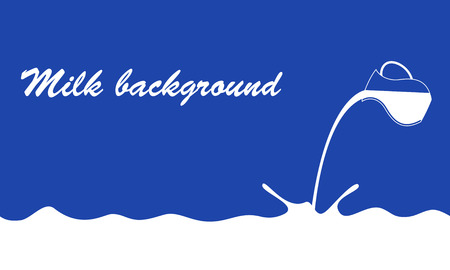 Milk flows from jug on blue background. Vector banner