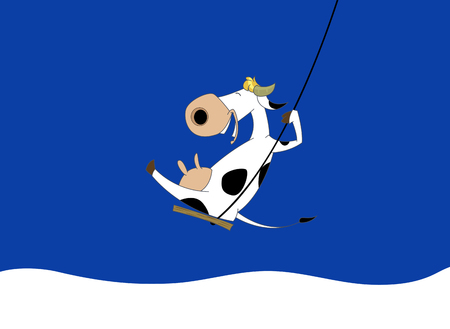 Vector image of who rides on the swing on blue background, Vector cow for your design.
