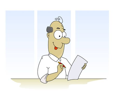 tax form: Fun cartoon man filling form such as tax form, insurance claim and pen. Vector Illustration