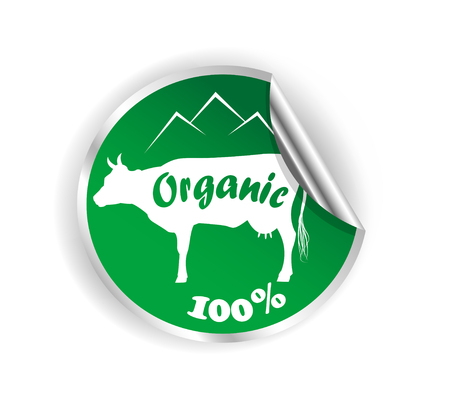 skim: Fresh natural milk sticke graphic with cow illustration. Vector