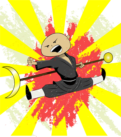 Shaolin monk trains his martial art skills. Cute illustration for t shirt print or other. Vector Illustration