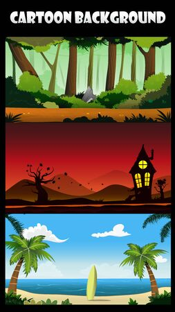 web graphics: Three cartoon backgrounds of jungle, beach with surfboard and sunset landscape. Vector illustration for design, graphics, print, web, magazine, book, web games.