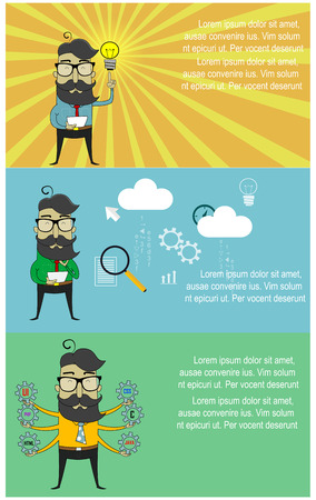 inforgaphic: Three cartoon banners with hipster guy as programmer. Concept web design, programming of and coding, Vector Illustration