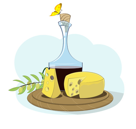 Cartoon cheese, wine and olive sprig. Cute culinary illustration. Vector