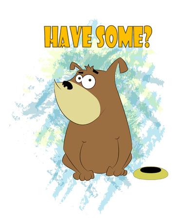 Foolish cartoon dog sits near bowl with food. Vector cartoon illustration.