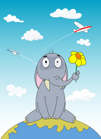 him: Hand drawn cartoon elephant sitting on Earth with flying plane behind him . Travel concept