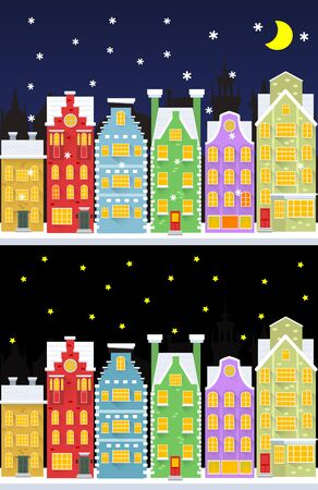 mansard: Old snow covered city street under snowfall. Two flat style banners. Vector