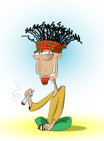 Fun sitting rasta man who smoke marijuana. Vector cartoon illustration.