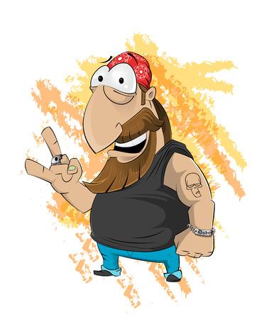bearded biker vector illustration