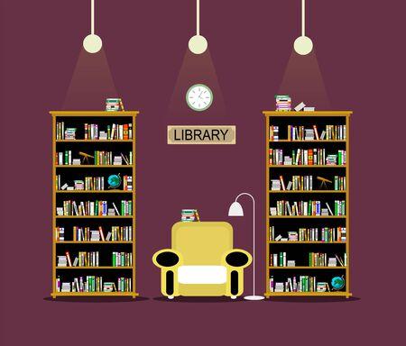 Library room flat illustration.