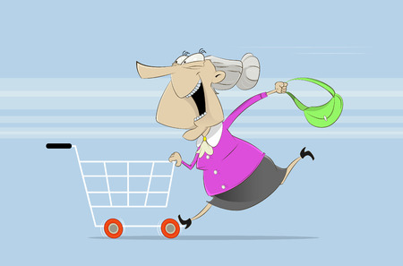 Funcy old woman rides on shopping cart