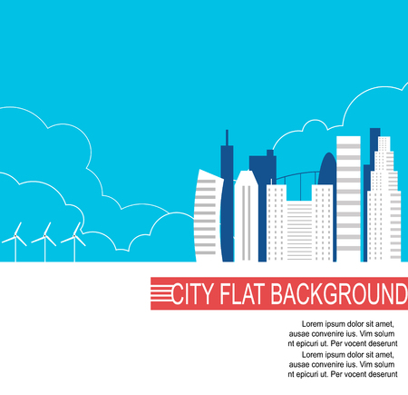 City of the future with alternative energy sources . Vector flat illustration
