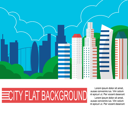 Modern city landscape with high skyscrapers . Flat style vector illustration.