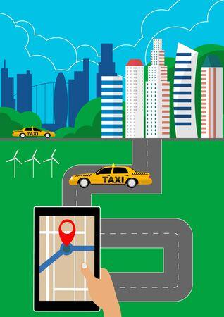 Taxi service concept illustration