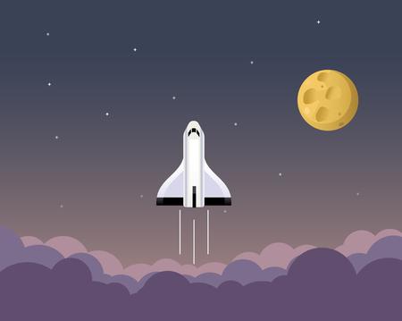 Cartoon illustration of flying spaceship