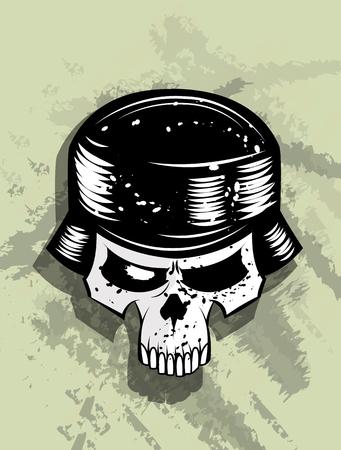 Skull in helmet of german soldier