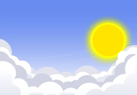Blue sky with clouds and sun. Vector background Illustration