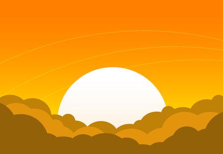 Cartoon sunset with bright sun