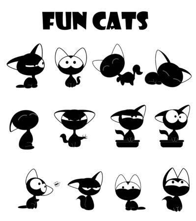Fun cute black cats set Illustration