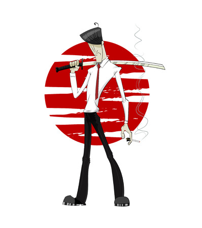 Young businessman with japanese sword