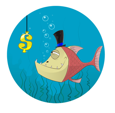 Cartoon fish going to catch dollar symbol