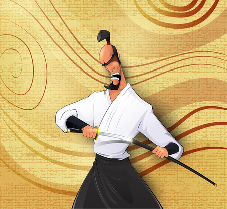 ronin: Cartoon llustration of Japanese samurai Illustration