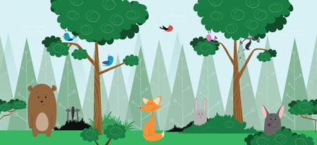 Conception de carte de forêt bébé avec des animaux amicaux