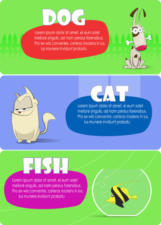 grey cat: dog cat and fish together Illustration