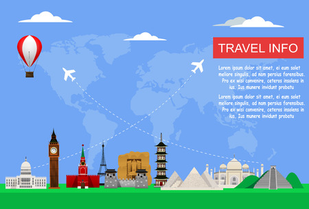 Travel concept with famous world monuments