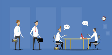 Job interview in office with candidates waiting for job interview. Vector flat illustration Illustration