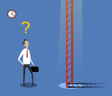 undecided: Businessman standing near ladder. Concept of doubtful, selecting the best solution and best possibilities. Vector illustration