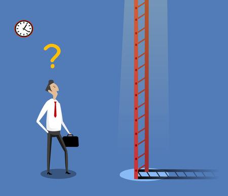 Geschäftsmann stand nahe Leiter. Konzept der zweifelhaften, Auswahl der besten Lösung und beste Möglichkeiten. Vektor-Illustration Vektorgrafik