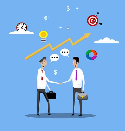 Concept of businessmen successful deal agreement with partners handshake. Vector flat design