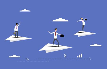 Businessmen flying on paper planes